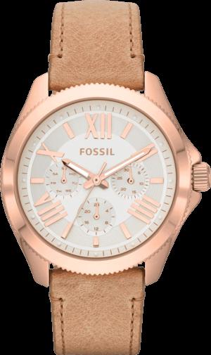 Damenuhr Fossil Cecile 40mm mit cremefarbenem Zifferblatt und Kalbsleder-Armband