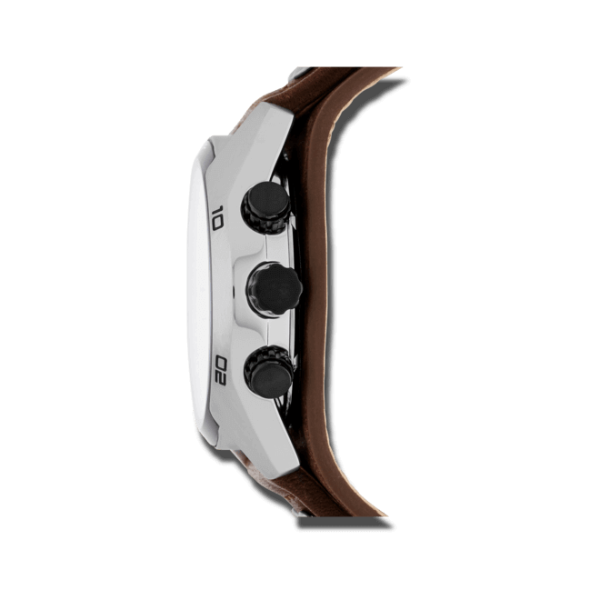 Herrenuhr Fossil Coachman 44mm mit elfenbeinfarbenem Zifferblatt und Rindsleder-Armband