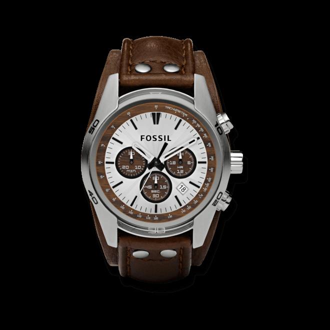 Herrenuhr Fossil Coachman 45mm mit silberfarbenem Zifferblatt und Rindsleder-Armband
