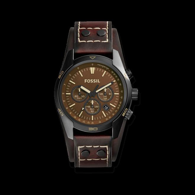Herrenuhr Fossil Coachman 45mm mit braunem Zifferblatt und Rindsleder-Armband