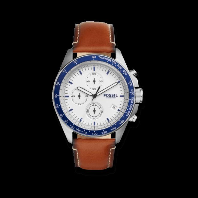 Herrenuhr Fossil Sport 54 Chronograph mit weißem Zifferblatt und Kalbsleder-Armband