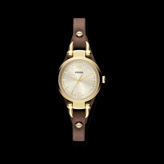 Damenuhr Fossil Georgia 26mm mit champagnerfarbenem Zifferblatt und Rindsleder-Armband