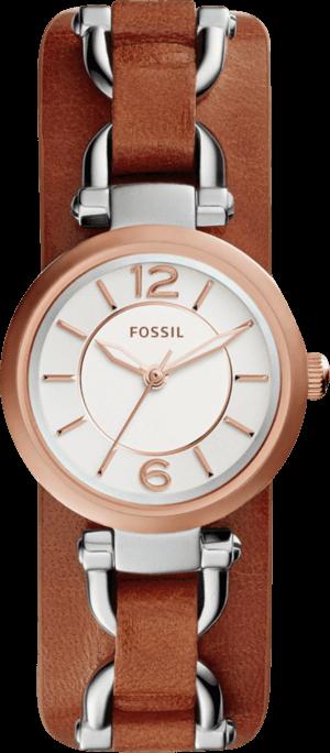 Damenuhr Fossil Georgia 26mm mit weißem Zifferblatt und Rindsleder-Armband