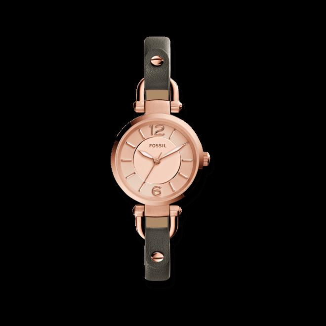 Damenuhr Fossil Georgia 26mm mit roségoldfarbenem Zifferblatt und Rindsleder-Armband