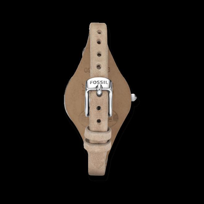 Damenuhr Fossil Georgia 32mm mit beigefarbenem Zifferblatt und Rindsleder-Armband