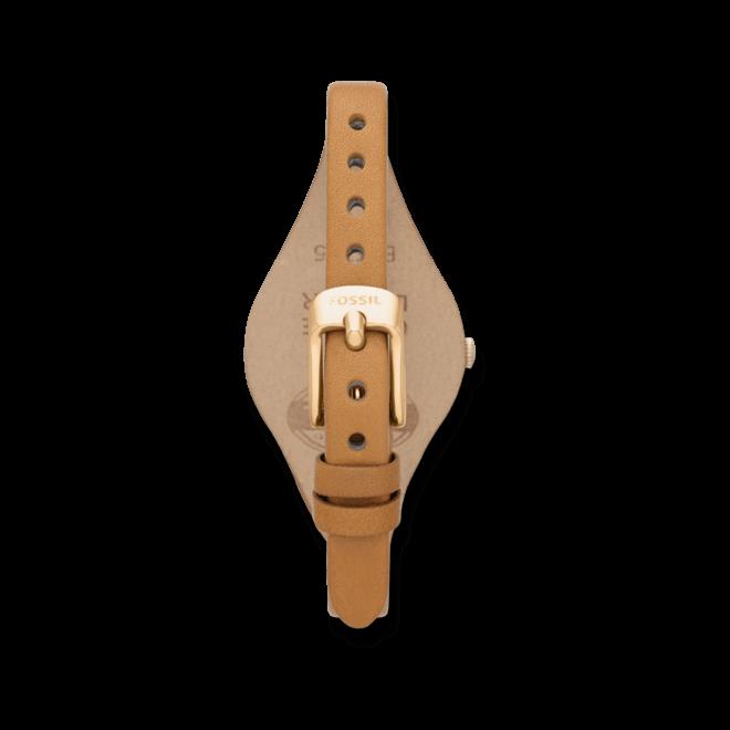 Damenuhr Fossil Georgia 32mm mit weißem Zifferblatt und Rindsleder-Armband
