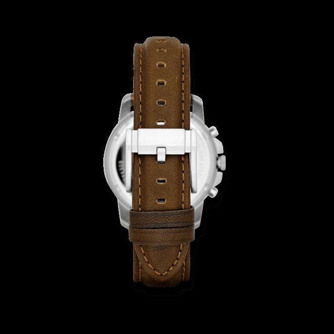 Herrenuhr Fossil Grant 38mm mit elfenbeinfarbenem Zifferblatt und Kalbsleder-Armband