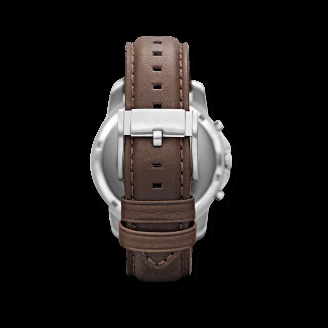 Herrenuhr Fossil Grant 44mm mit elfenbeinfarbenem Zifferblatt und Kalbsleder-Armband