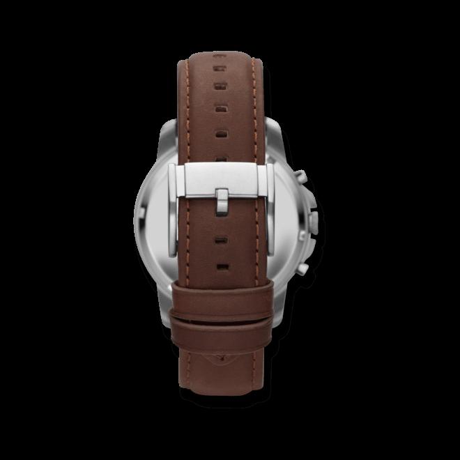 Herrenuhr Fossil Grant 44mm mit schwarzem Zifferblatt und Kalbsleder-Armband
