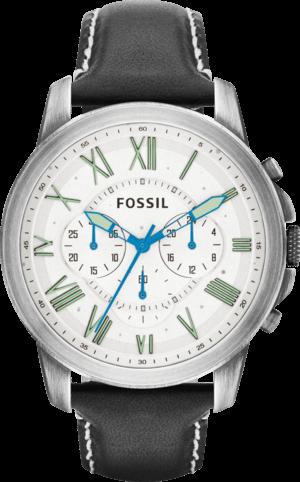 Herrenuhr Fossil Grant 44mm mit cremefarbenem Zifferblatt und Kalbsleder-Armband