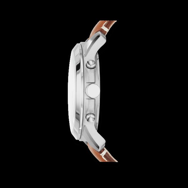 Herrenuhr Fossil Grant 44mm mit weißem Zifferblatt und Kalbsleder-Armband