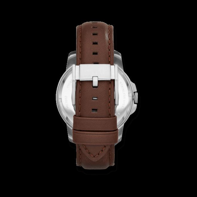Herrenuhr Fossil Grant Automatik 44mm mit elfenbeinfarbenem Zifferblatt und Kalbsleder-Armband