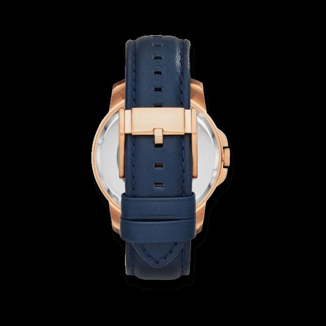 Herrenuhr Fossil Grant Automatik 44mm mit blauem Zifferblatt und Kalbsleder-Armband