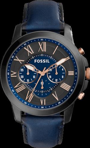 Herrenuhr Fossil Grant Chronograph 44mm mit zweifarbigem Zifferblatt und Kalbsleder-Armband