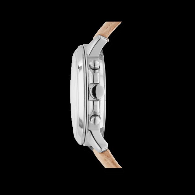 Damenuhr Fossil Gwynn Quarz Chronograph 38mm mit weißem Zifferblatt und Kalbsleder-Armband
