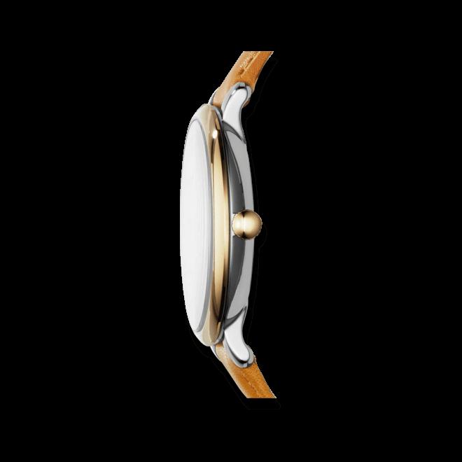 Damenuhr Fossil Jacqueline 36mm mit weißem Zifferblatt und Rindsleder-Armband