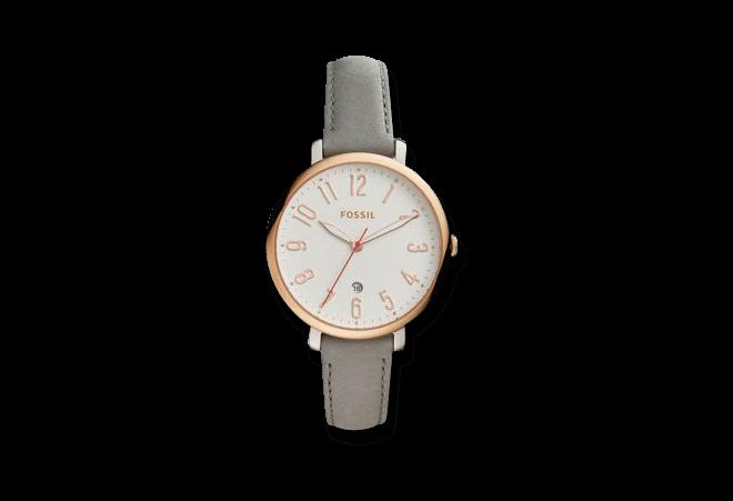Damenuhr Fossil Jacqueline Quarz 36mm mit weißem Zifferblatt und Kalbsleder-Armband