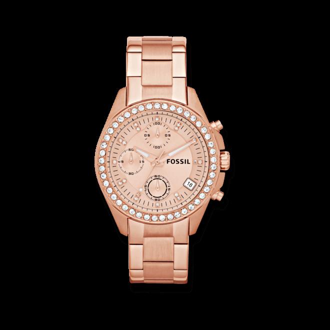 Damenuhr Fossil Ladies Decker 38mm mit roségoldfarbenem Zifferblatt und Edelstahlarmband