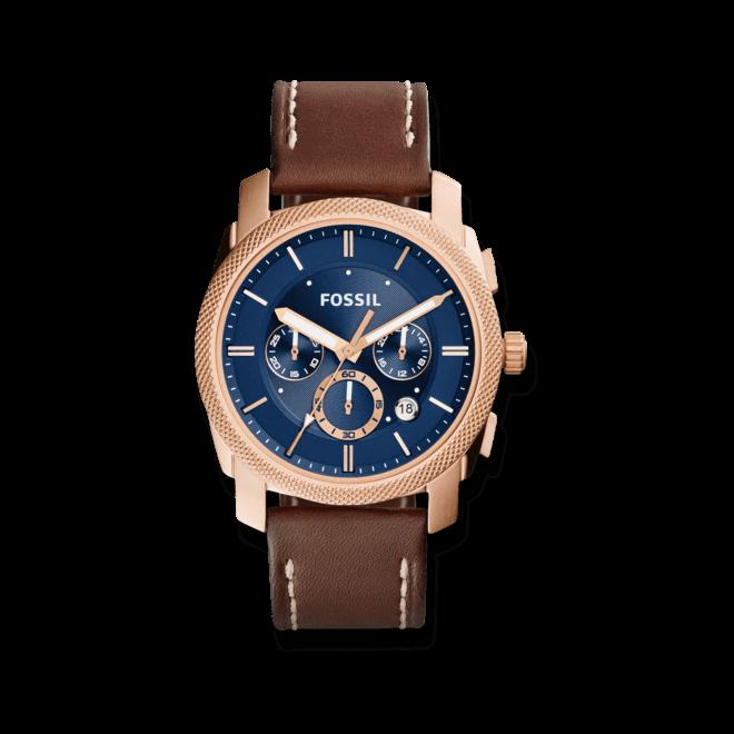 Herrenuhr Fossil Machine 40mm mit blauem Zifferblatt und Kalbsleder-Armband