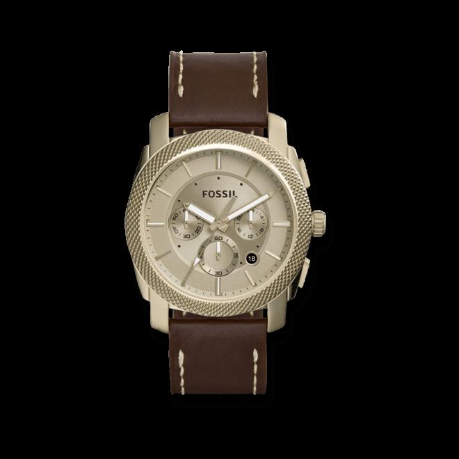 Herrenuhr Fossil Machine Chronograph 44mm mit gelbgoldfarbenem Zifferblatt und Kalbsleder-Armband