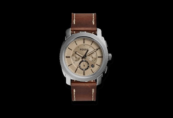 Herrenuhr Fossil Machine Quarz Chronograph mit grauem Zifferblatt und Kalbsleder-Armband