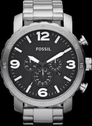 Herrenuhr Fossil Nate 50mm mit schwarzem Zifferblatt und Edelstahlarmband