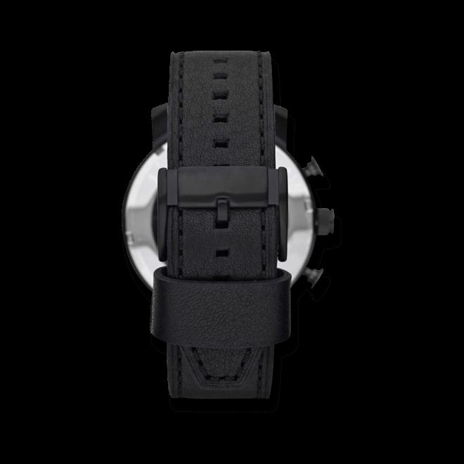 Herrenuhr Fossil Nate 50mm mit schwarzem Zifferblatt und Kalbsleder-Armband