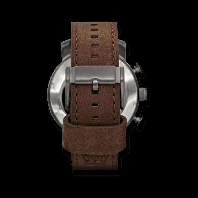 Herrenuhr Fossil Nate 50mm mit grauem Zifferblatt und Kalbsleder-Armband