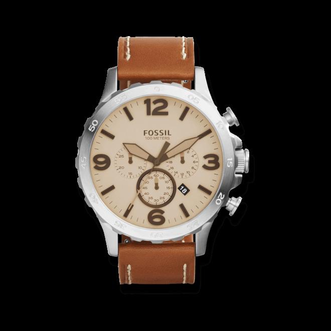Herrenuhr Fossil Nate 50mm mit cremefarbenem Zifferblatt und Kalbsleder-Armband