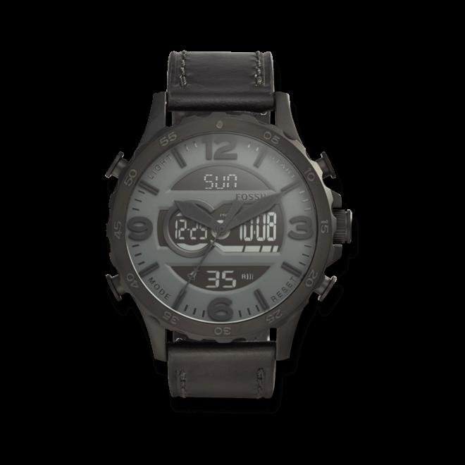 Herrenuhr Fossil Nate Quarz 50mm mit anthrazitfarbenem Zifferblatt und Kalbsleder-Armband