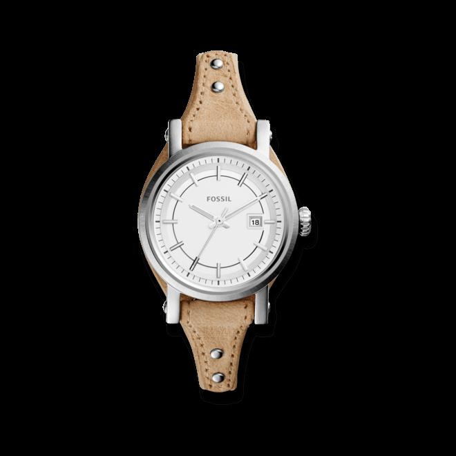 Damenuhr Fossil Original Boyfriend 30mm mit weißem Zifferblatt und Kalbsleder-Armband