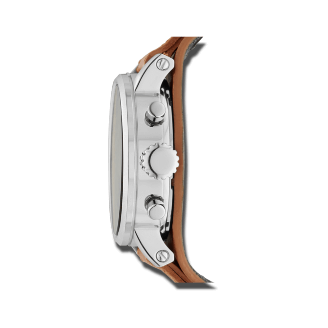 Damenuhr Fossil Original Boyfriend 38mm mit beigefarbenem Zifferblatt und Kalbsleder-Armband