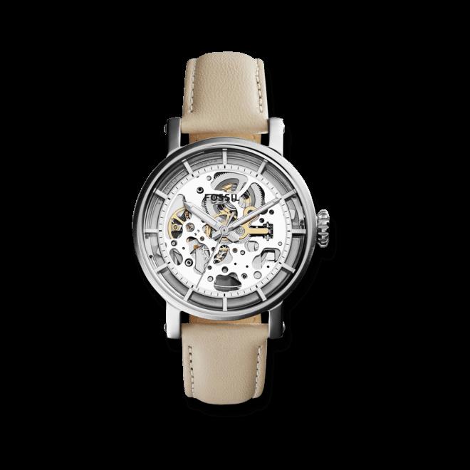 Damenuhr Fossil Original Boyfriend Automatik mit silberfarbenem Zifferblatt und Kalbsleder-Armband