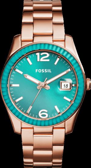 Damenuhr Fossil Perfect Boyfriend 39mm mit türkisfarbenem Zifferblatt und Edelstahlarmband
