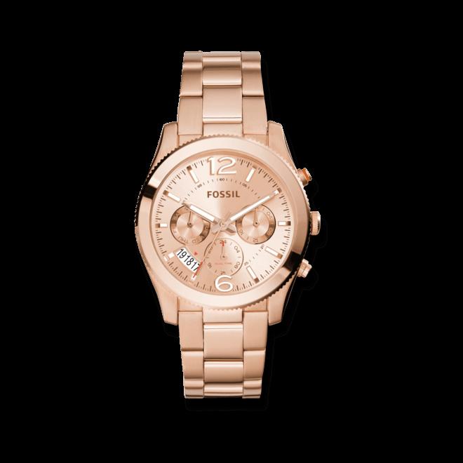 Damenuhr Fossil Perfect Boyfriend Quarz Chronograph 40mm mit roségoldfarbenem Zifferblatt und Edelstahlarmband