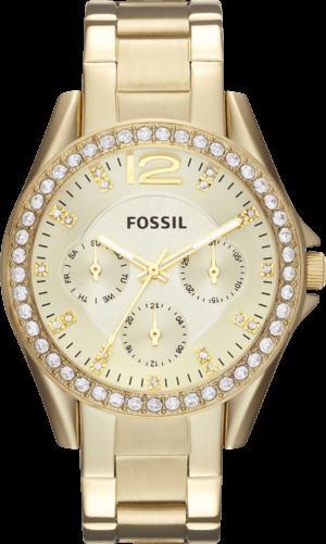 Damenuhr Fossil Riley 38mm mit gelbgoldfarbenem Zifferblatt und Edelstahlarmband