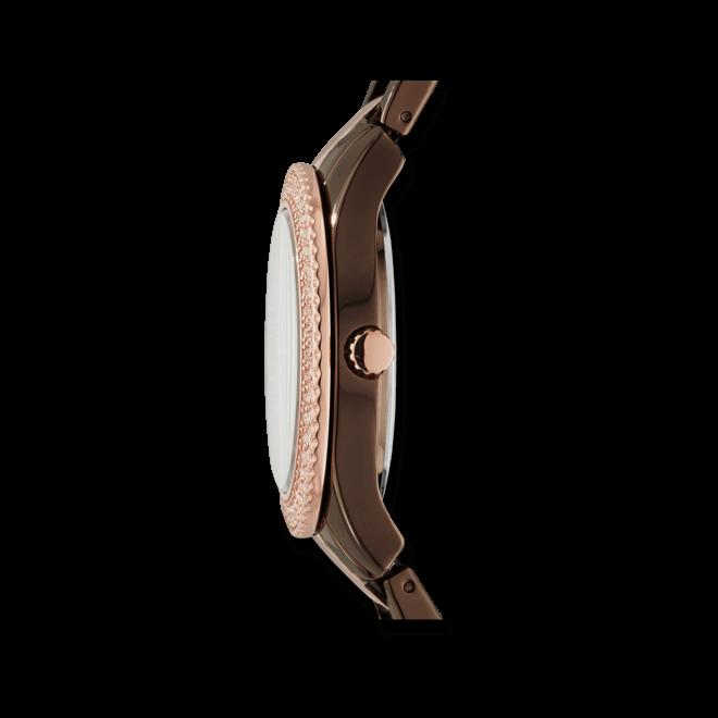 Damenuhr Fossil Stella 38 mm mit braunem Zifferblatt und Edelstahlarmband