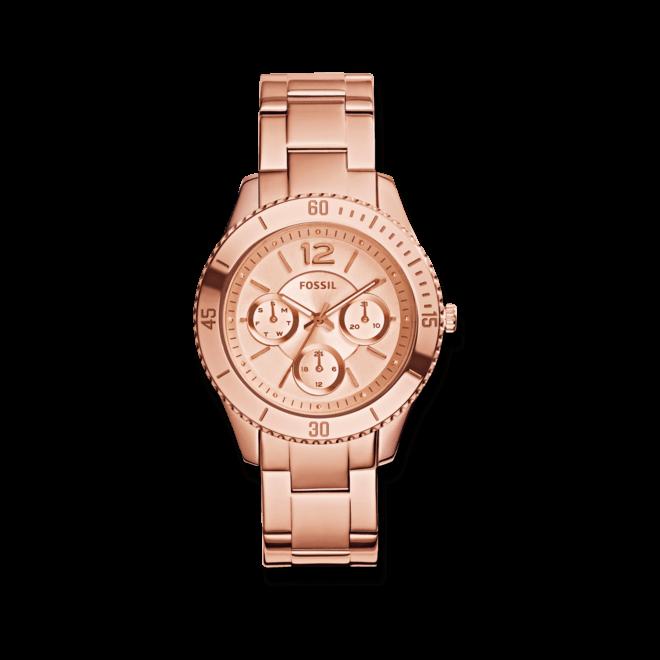 Damenuhr Fossil Stella 38mm mit roségoldfarbenem Zifferblatt und Edelstahlarmband