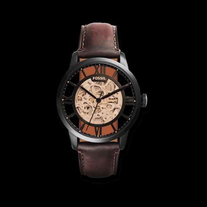 Herrenuhr Fossil Townsman Automatik 44mm mit braunem Zifferblatt und Kalbsleder-Armband