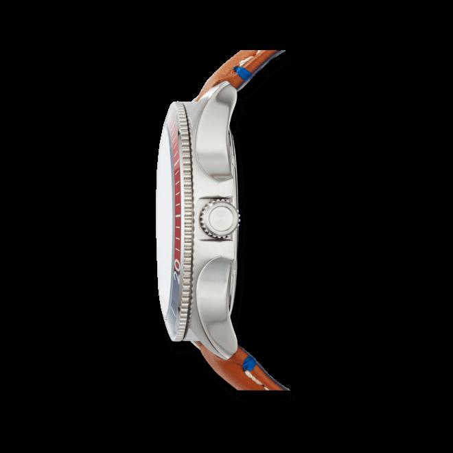 Herrenuhr Fossil Wakefield 45mm mit weißem Zifferblatt und Kalbsleder-Armband