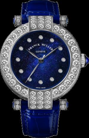 Damenuhr Franck Muller Cielo Automatik mit Diamanten, blauem Zifferblatt und Alligatorenleder-Armband