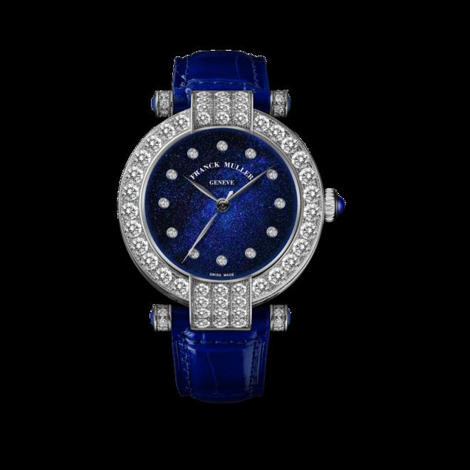 Damenuhr Franck Muller Cielo Automatik mit Diamanten, blauem Zifferblatt und Alligatorenleder-Armband bei Brogle