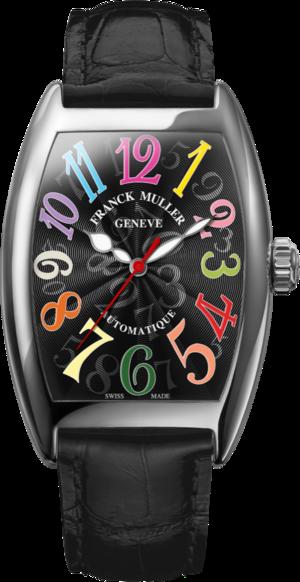 Damenuhr Franck Muller Cintrée Curvex Automatik mit schwarzem Zifferblatt und Alligatorenleder-Armband