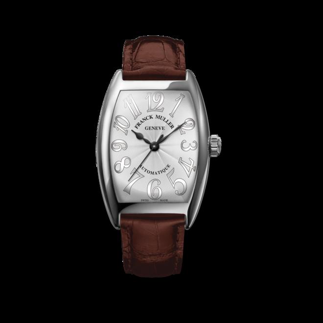Damenuhr Franck Muller Cintrée Curvex Automatik 29 x 39 x 7,2mm mit weißem Zifferblatt und Alligatorenleder-Armband bei Brogle
