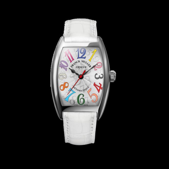 Damenuhr Franck Muller Cintrée Curvex Automatik mit weißem Zifferblatt und Alligatorenleder-Armband bei Brogle