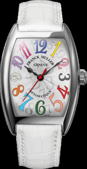 Damenuhr Franck Muller Cintrée Curvex Automatik mit weißem Zifferblatt und Alligatorenleder-Armband