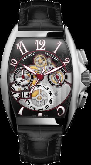 Herrenuhr Franck Muller Cintrée Curvex Automatik Chronograph mit schwarzem Zifferblatt und Alligatorenleder-Armband