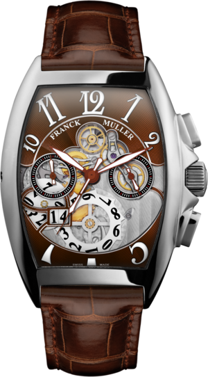 Herrenuhr Franck Muller Cintrée Curvex Automatik Chronograph mit braunem Zifferblatt und Alligatorenleder-Armband