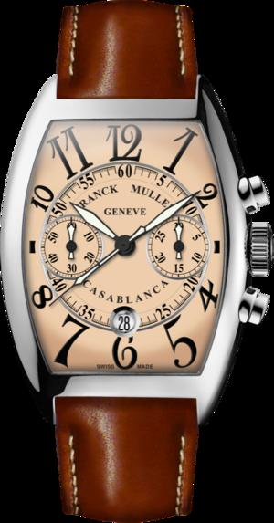 Herrenuhr Franck Muller Cintrée Curvex Automatik Chronograph mit roséfarbenem Zifferblatt und Alligatorenleder-Armband