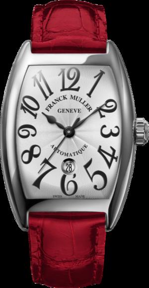 Damenuhr Franck Muller Cintrée Curvex Automatik Datum mit weißem Zifferblatt und Alligatorenleder-Armband